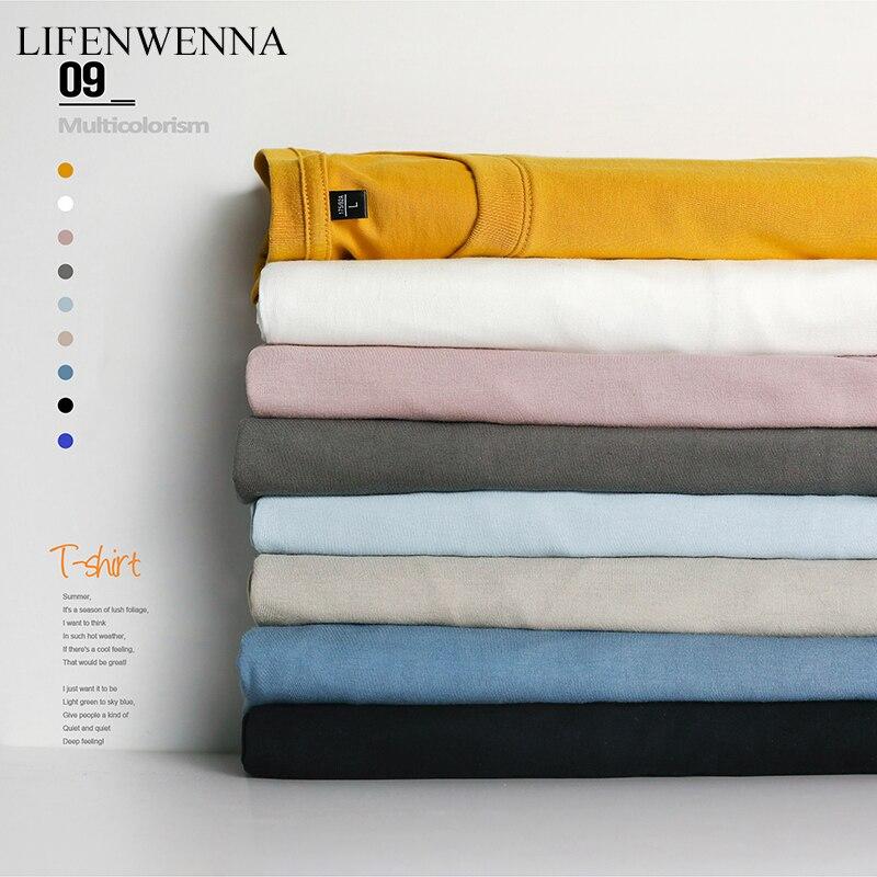 S-4XL de manga corta de verano para hombre, nuevo básico de moda, sólido, cuello redondo, camiseta Casual de algodón con tacto suave para hombre
