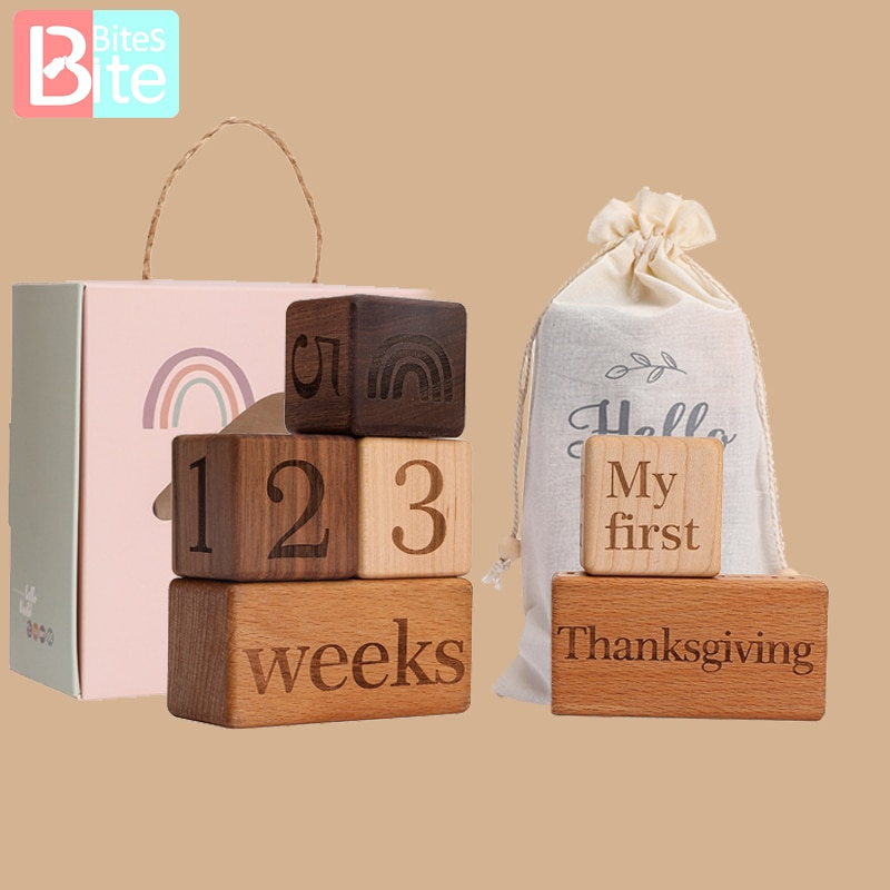 1Set Baby Month Milestone Card Neowbrn Photography Commemorative baby Milestone Wooden Toys Montessori Photography Accessories