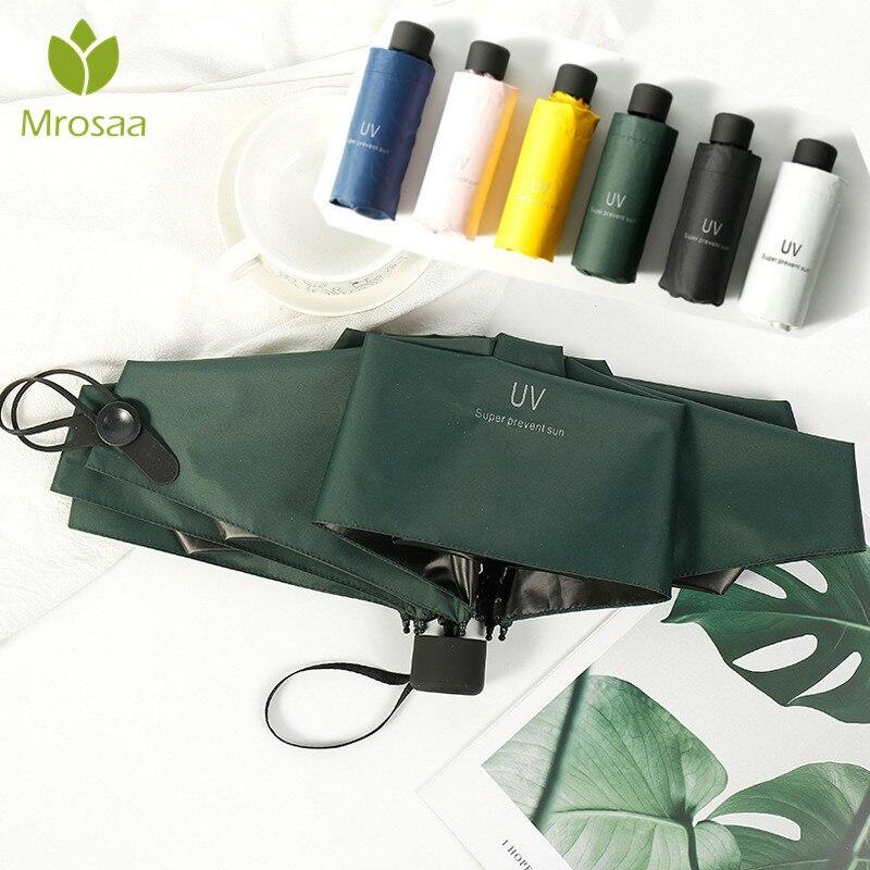 Paraguas plegable de moda Mrosaa, paraguas plegable para lluvia de regalo para hombres, Mini sombrilla de bolsillo para niñas, paraguas de viaje portátiles Anti-UV a prueba de agua