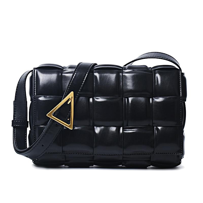 Marca de moda preto treliça quadrado saco de pão couro genuíno acolchoado crossbody saco 2020 feminina designer cassette shoudler sacos
