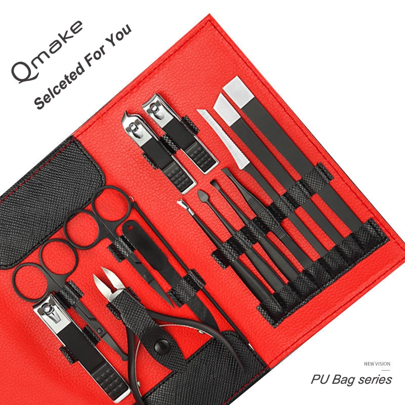 15 stks/set Multifunctionele Nagelknipper Set Rvs Zwart Pedicure Scissor Tweezer Manicure Set Kit Nail Art Gereedschap Care