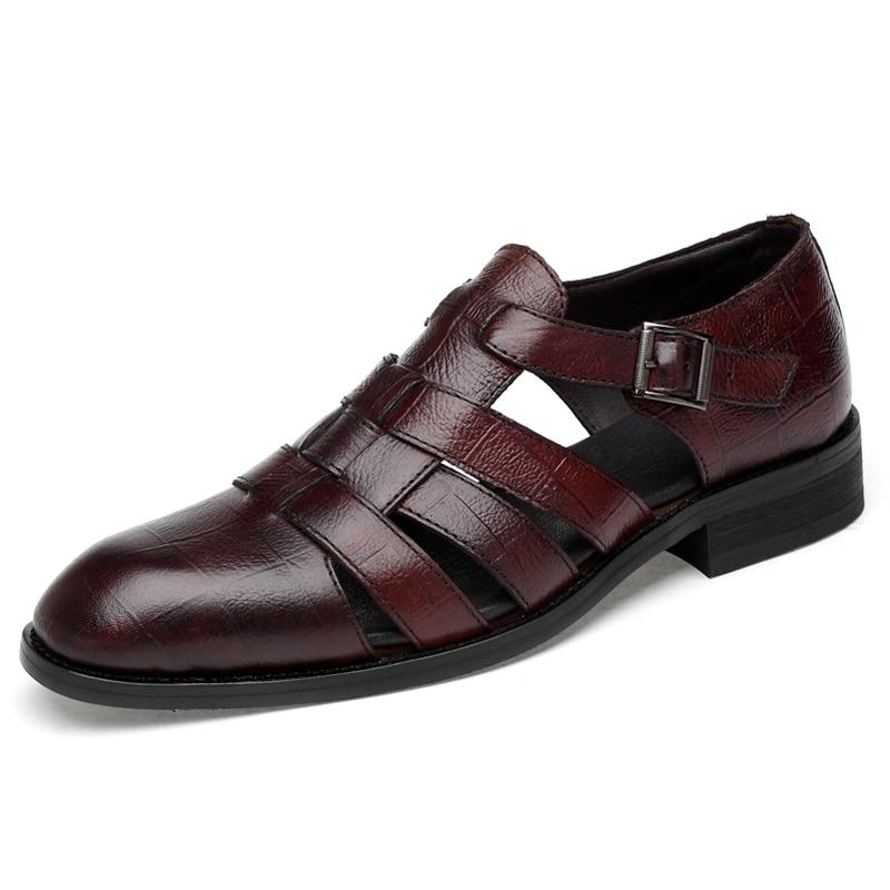 Italian style Fashion Genuine leather sandals for men Business Dress sandals Handmade Leather shoes men sandalias Big Size 35-47