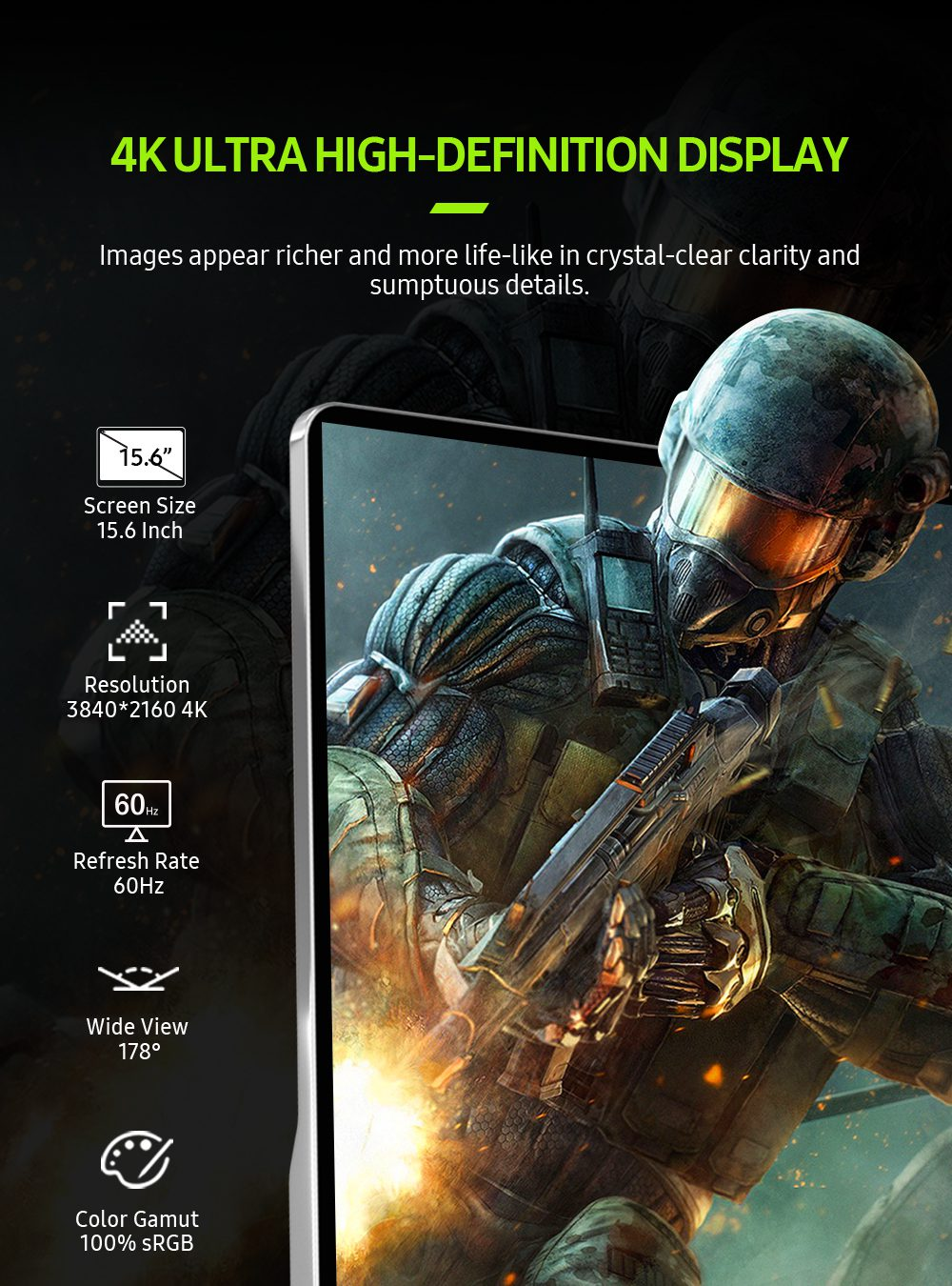 UPERFECT 15.6 4K USB 3.1 Type-C  Screen Portable Monitor For Ps4 Switch Xbox Huawei Xiaomi Phone Gaming  Laptop Display