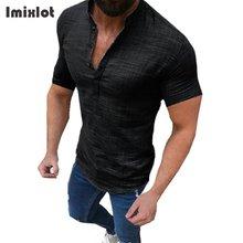 Yeni yaz düz pamuk keten kısa kollu gömlek rahat standı yaka bluz Tops S-2XL Camisas moda rahat gömlek