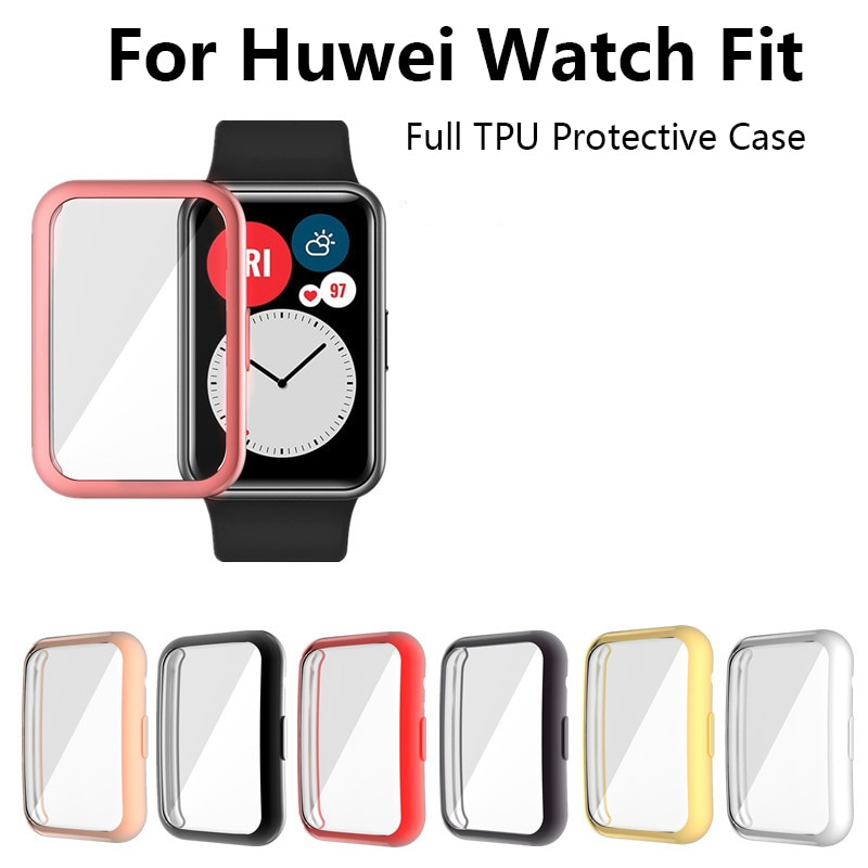TPU Soft Full Screen Glass Protector Case Shell Edge Frame For Huawei Watch Fit Strap Band Protective Bumper Protective New tpu soft silicone soft full screen glass protector case shell frame for huawei honor es watch fitting plating protective cover