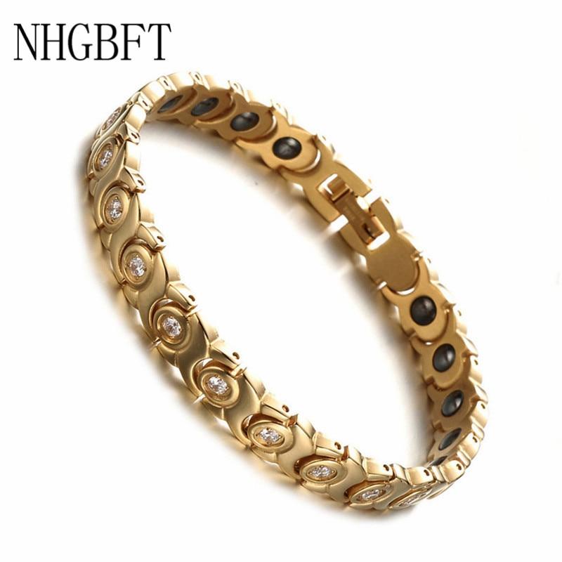 NHGBFT Gold Color Healthy Magnet Bio Energy Bracelet For Mens Stainless Steel CZ Bracelet