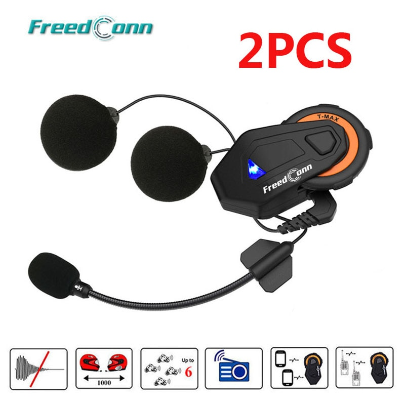 2 шт. Freedconn T-Max шлем Bluetooth гарнитура для внутренней связи мотоцикл 1000 м 6 Riders группа Talk система FM радио + мягкий наушник