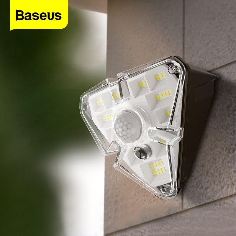 Baseus-مصباح خارجي يعمل بالطاقة الشمسية مع مستشعر حركة PIR ، مقاوم للماء ، إضاءة خارجية ، مصباح حائط ، مثالي للحديقة أو الشوارع.