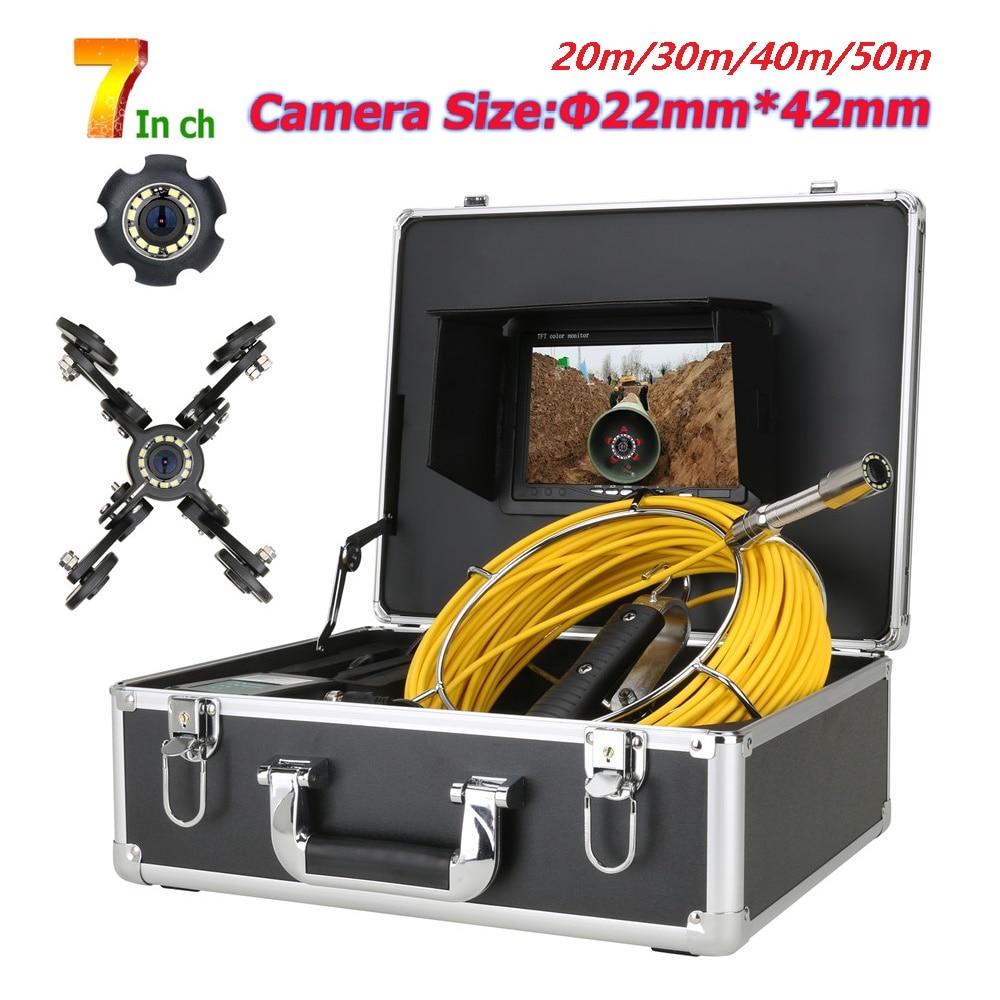 7 بوصة أنبوب ترشيح التفتيش كاميرا فيديو 22 مللي متر 1000TVL DVR HD استنزاف المجاري خط أنابيب نظام المنظار الصناعي مع 12 قطعة LED