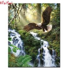 Diamant painting DIY 5D Diamond Painting Waterfall Eagle Needlework Craft Gift Full Square diamond round Embroidery Scenery