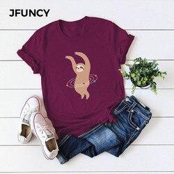 Jfuncy plus size S-5XL verão algodão t camisa feminina casual topos camisetas linda dança preguiça dos desenhos animados impressão camisas rosa