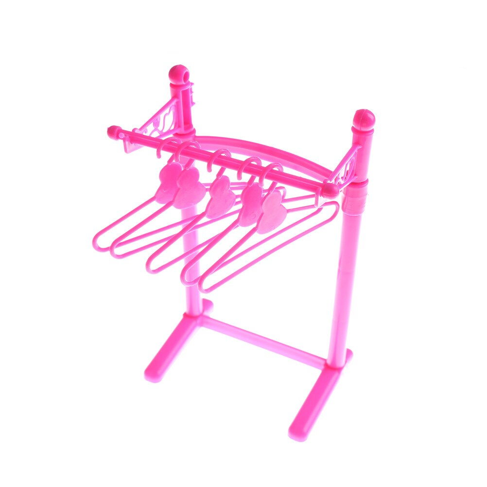 1set Mix Doll Furniture Pretend Play Toy Hangers For  Doll Dollhouse Accessories Girl Toy 5pcs Hangers +1 Holder
