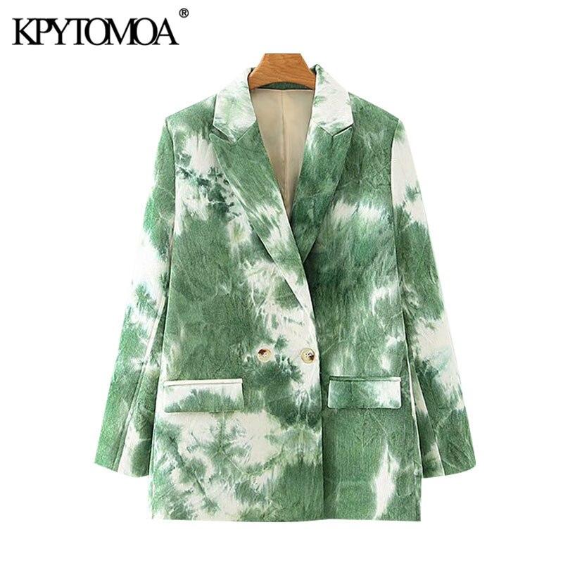 ملابس علوية أنيقة للنساء موضة 2021 من KPYTOMOA سترة ذات قصة ثنائية الصدر ذات طبعات مطبوعة معطف عتيق بأكمام طويلة وجيوب ملابس خارجية للنساء