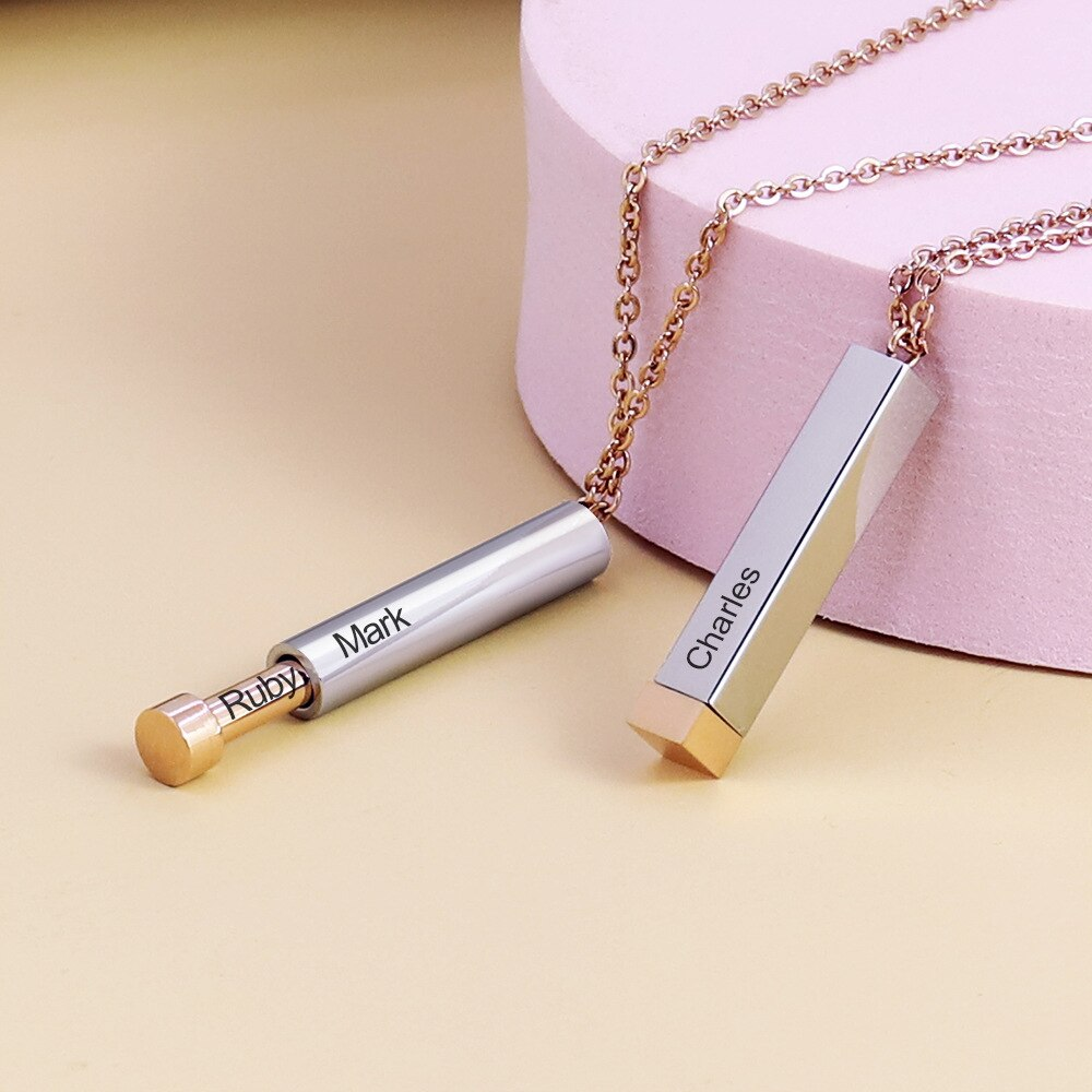 Personalized Fashion Long Chain Necklace For Women Men Jewelry Gift Carbon Teel Black Pendant Necklace Accessories Engraved Name