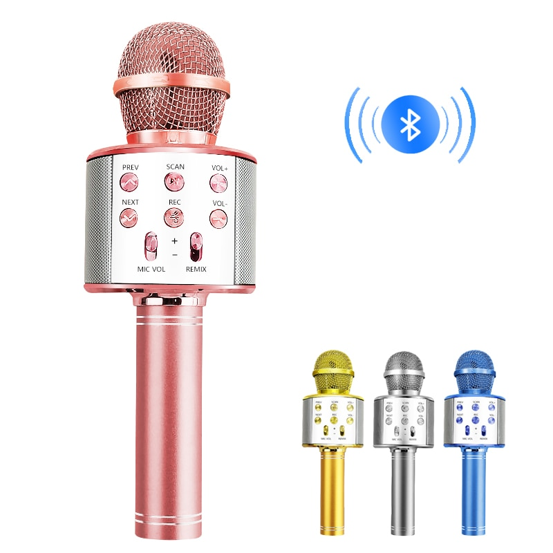 Bluetooth Wireless Microphone Handheld Karaoke Mic USB Mini Home KTV For Music Professiona Speaker P