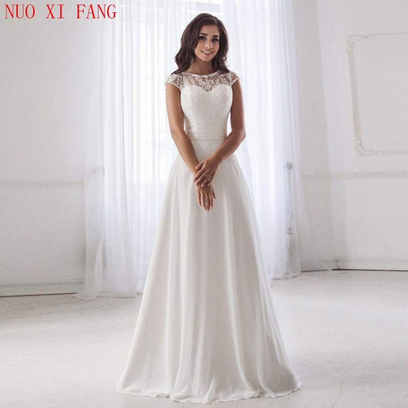 Get 2020 Scoop Neck Lace Wedding Dresses Sleeveless Pleats Belt Chiffon Beach Wedding Bridal Gown Robe De Soiree Open Back Casamento