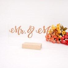 1 ensemble Mr & Mrs fête de mariage signe Transparent acrylique conseil fiançailles fête Table carte Table décoration