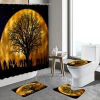 4pcst set universe starry sky black tree shower curtain color galaxy night scenery anti slip rugs toilet mats bathroom carpets