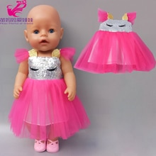 new born Baby Doll Dress 43cm 18 Inch Girl Doll Clothes Dress Unicorn Dress for Toys clothes