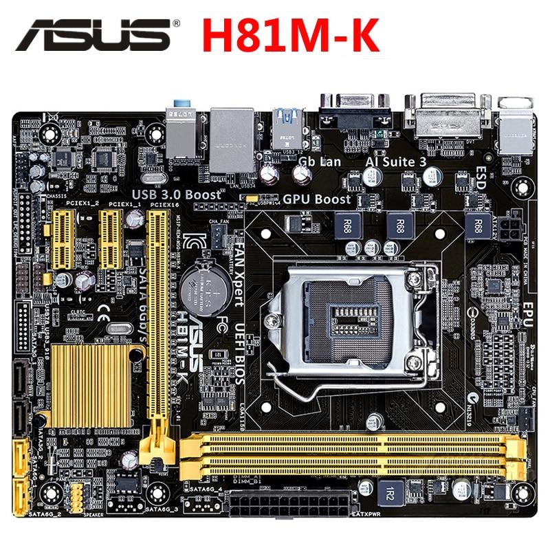 Материнская плата ASUS H81M-K Micro ATX H81M-K LGA 1150 системная плата H81M DDR3 для Intel H81 16GB настольная материнская плата USB 3,0 H81MK б/у