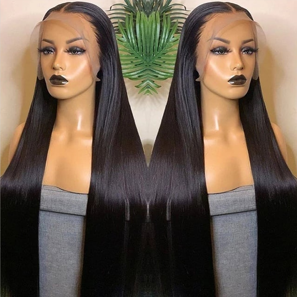 13x6 HD Transparent Lace Front Wigs Human Hair For Black Women Pre Plucked with Baby Hair Straight Lace Frontal Wig 180% Density