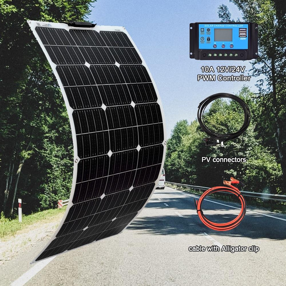 Casa de Carregamento Energia ao ar Flexível para 12v Painel Solar Watt Kit Panneau Solaire Célula 24v Bateria rv Carro Livre 100 w 18v