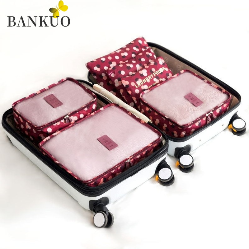 BANKUO Travel Organizer Storage Bags 6 Pieces Set Suitcase Packing Set Storage Cases Portable Luggage Organizer Tidy Pouch C357