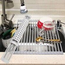 Égouttoir à vaisselle enroulable multi-usage égouttoir à vaisselle roulant sur tapis dévier Silicone résistant à la chaleur pour cuisine pliable