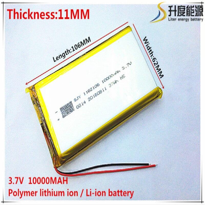 Литий-полимерные аккумуляторные батарейки 3,7 В 10000 мАч 1162106 для Mp3 MP4 MP5 GPS мобильного телефона bluetooth
