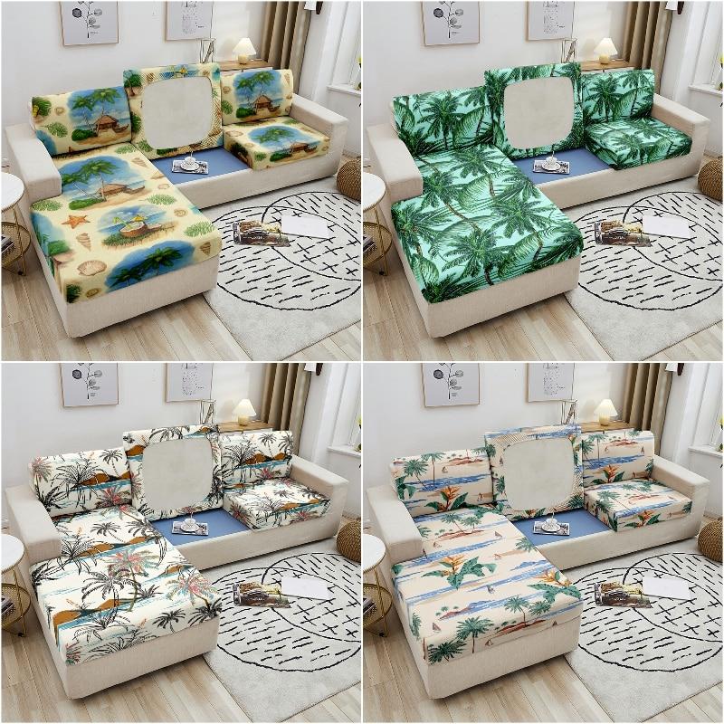 Эластичное сиденье для дивана, силиконовый чехол с рисунком кокосового дерева, растягивающийся чехол для подушки на диван, чехлы на сиденья...