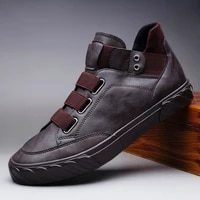 quality men shoes new pu leather shoes comfort breathable men loafers trend british high top sneakers men casual shoes moccasins