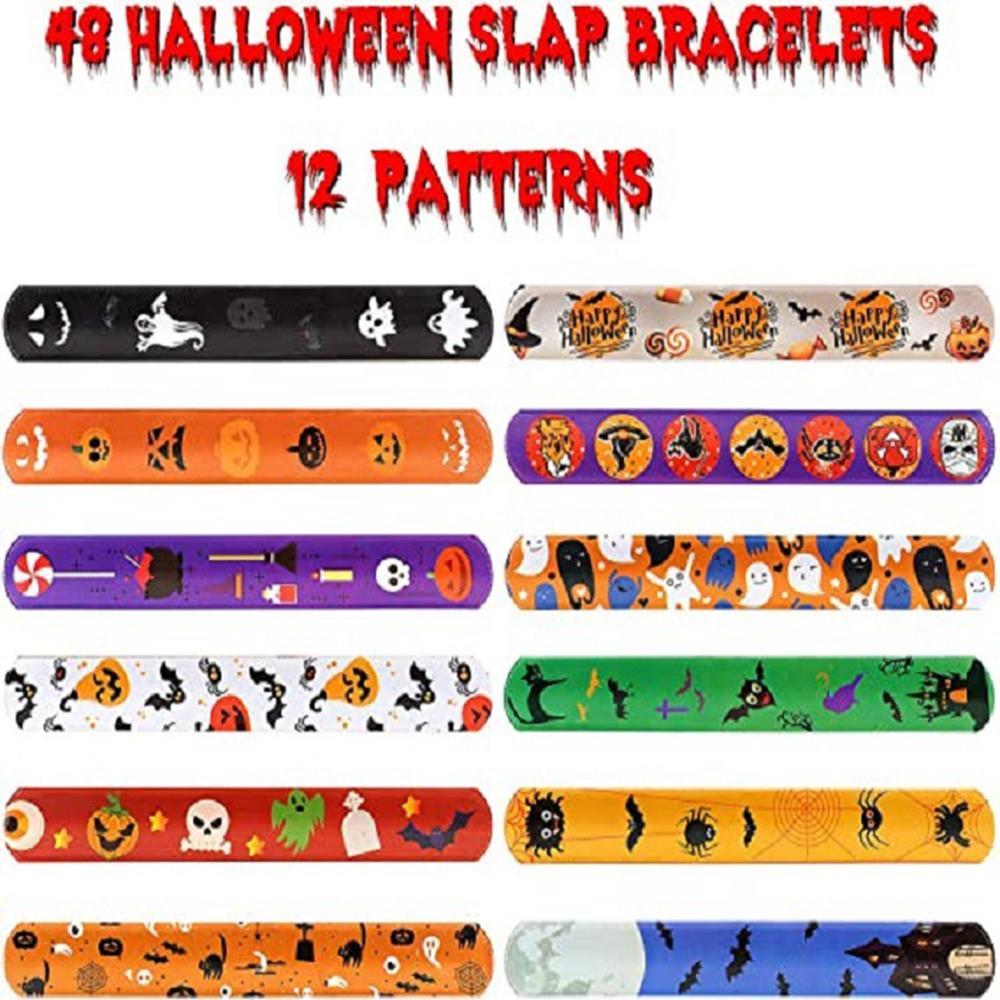 12 Uds. Brazaletes de Halloween Slap regalo araña calabaza fantasma regalo Halloween cumpleaños fiesta favorece a los niños regalo de invitados