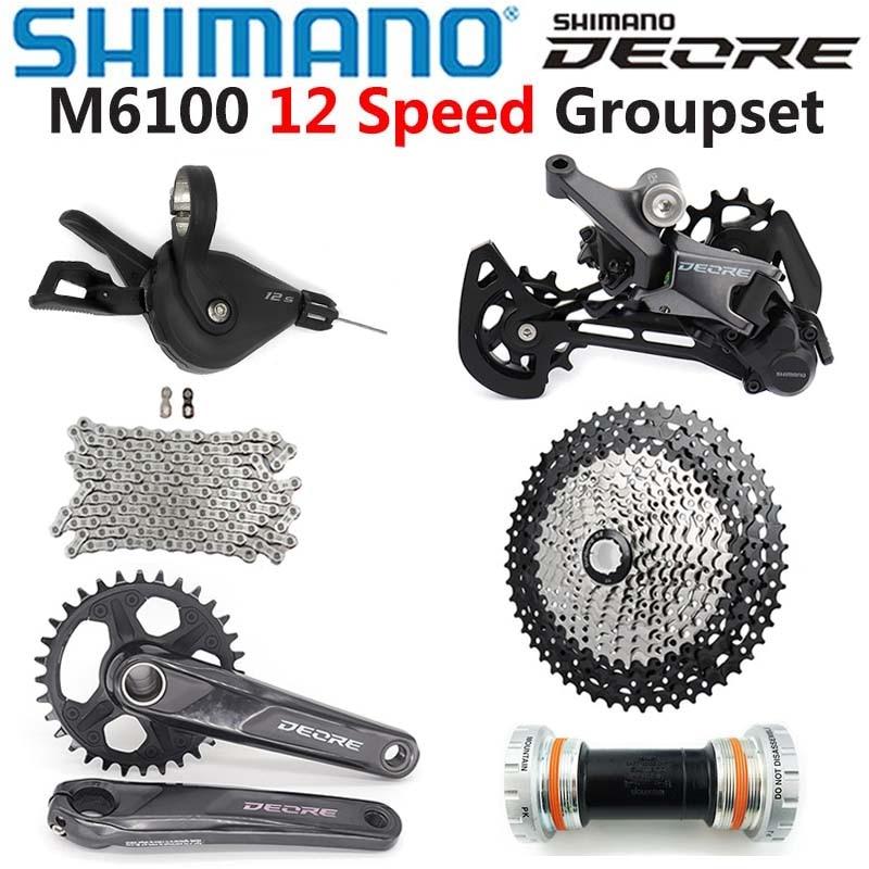 Набор компонентов SHIMANO DEORE M6100, 12 скоростей, рычаг переключения передач, цепь, шатун, BB Sunshine 11-50T/52T, кассета звездочек