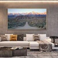 Peinture a lhuile de paysage  route droite vers la neige  montagne  toile dart  salon  couloir  bureau  decoration murale de la maison