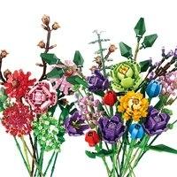 new ideas flowers bouquet building blocks moc romantic rose flower bricks home decoration diy toys for girl birthday gift