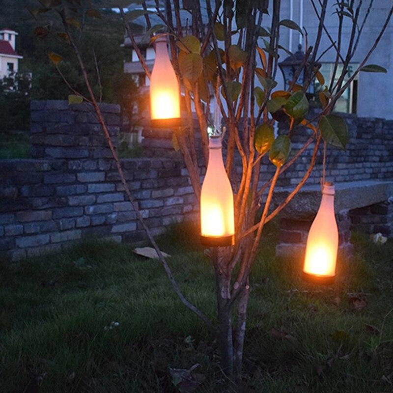 Solar light outdoors LED wine bottle flame hanging lamp lantern waterproof garden garden park corridor lawn decorative 1/3 pcs