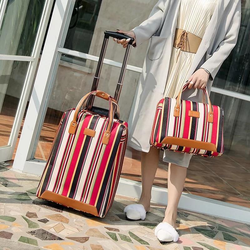 Trave حقيبة مع عجلات الدوار 20 ''عربة الأمتعة حقيبة أكسفورد المرأة حقيبة عطلة الأسبوع تحمل على الأمتعة مجموعة المقصورة حقيبة حقيبة