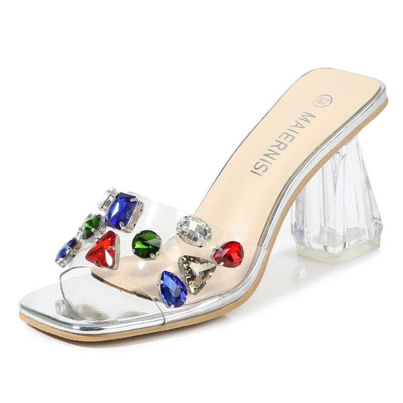 MAIERNISI وصل جديد أحذية النساء مثير صندل كعب عالٍ الشريط الملونة أحذية الحفلات مضخات كريستال شفاف حجم كبير 45 46