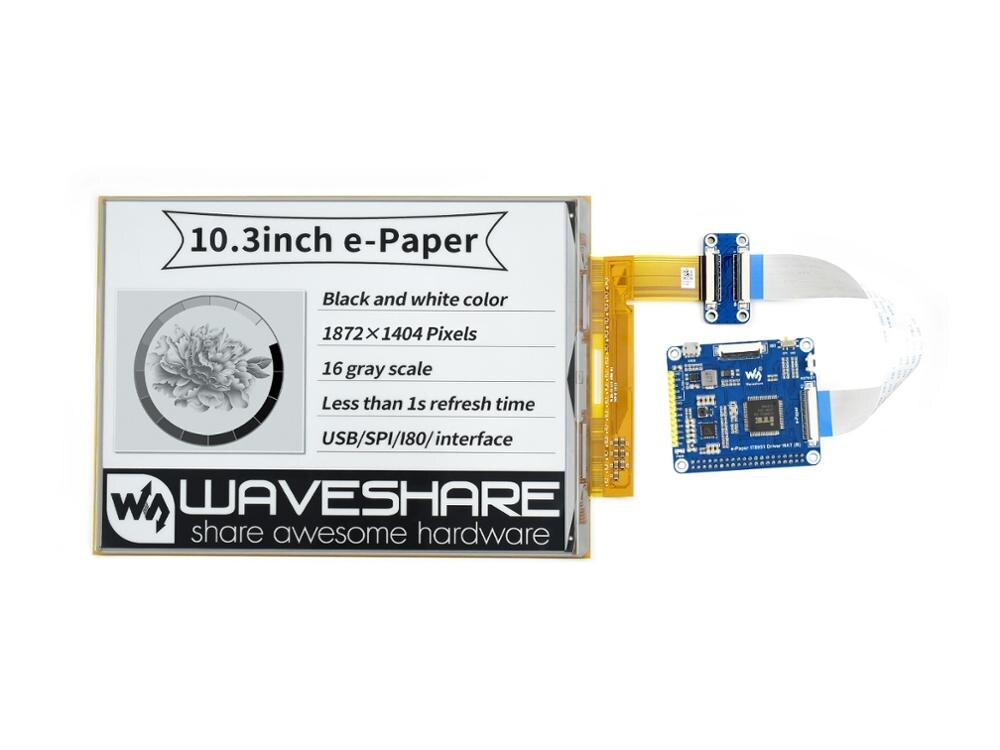 Waveshare 10.3inch flexible E-Ink display HAT for Raspberry Pi, IT8951 controller,1872×1404 resolution,supports partial refresh