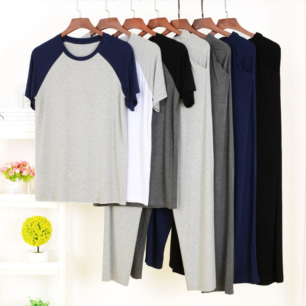 Fdfklak Men's Modal Pajamas Large 2PCS Sleepwear Short Sleeve Pajama Sets Casual Sleep&Lounge Pyjamas Plus Size L-4XL Pijama