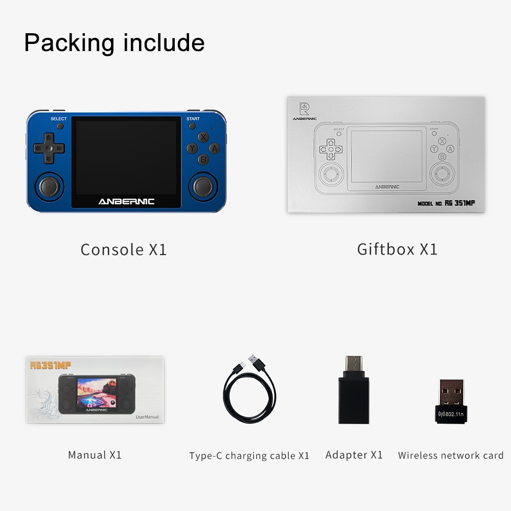 RG351MP ANBERNIC Retro game RG351M Video games game console ps1 game 64bit opendingux 3.5 inch 2500+ games RG351P enlarge