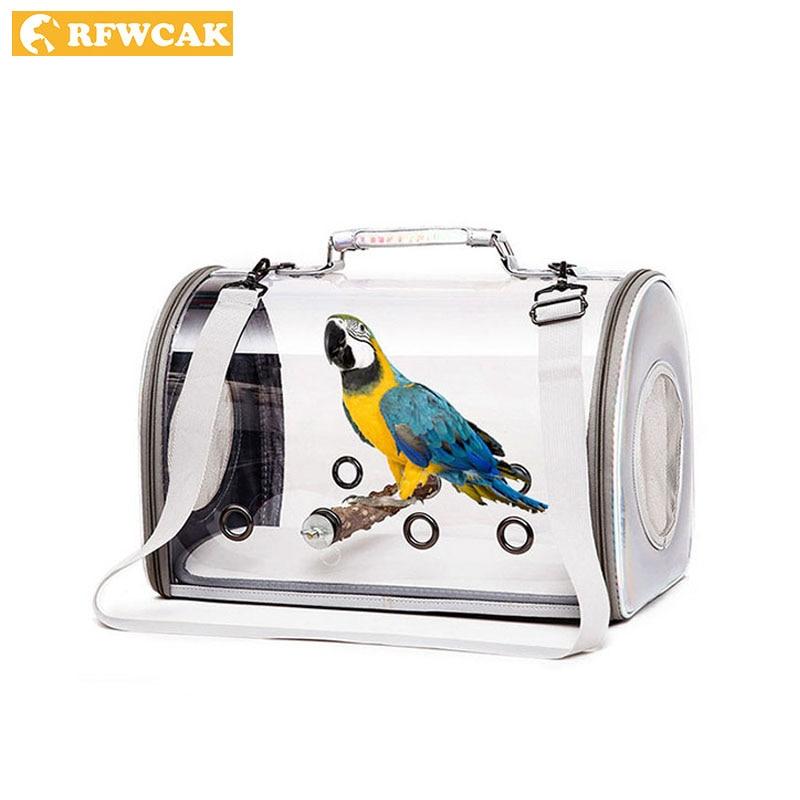 Rfwcak transparente pet parrot bolsa de transporte gaiola viagem respirável transportadora pássaro canário transporte sacos ombro aves suprimentos
