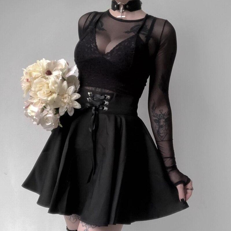 Insgoth cintura alta plissado mini saias feminino gótico punk preto rendas até saia casual streetwear sólido feminino a linha saia de festa