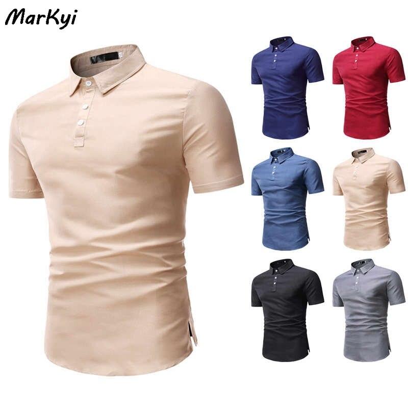 Мужская рубашка-поло Markyi, Однотонная рубашка с короткими рукавами, лето 2020