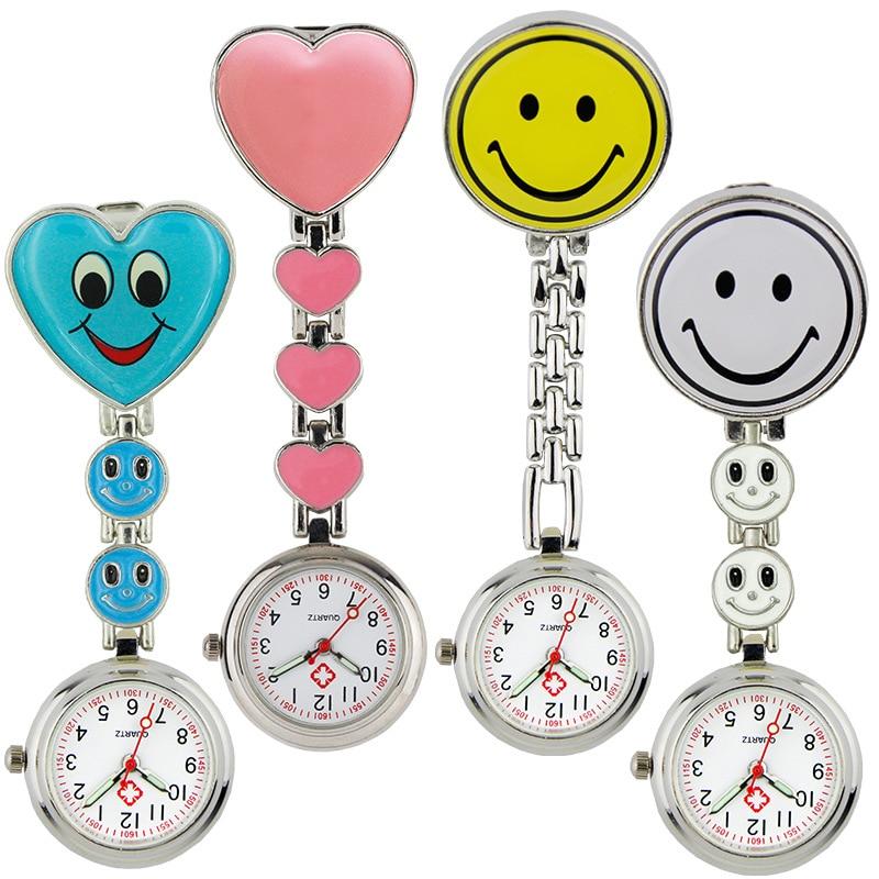 2021 New Fashion Ladies Cute Love Smiling Face Quartz Bracelet Brooch Nurse Pocket FOB Watch Luminous Pointer Ladies Girls Gift