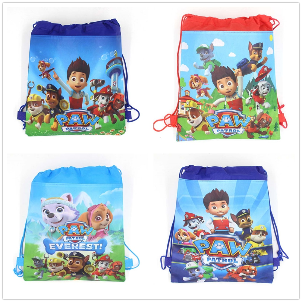 12 шт., сумка из нетканого материала с рисунком из мультфильма «Щенячий патруль», рюкзак на шнурке, Подарочная сумка, сумка для хранения, школьные сумки для мальчиков, вечерние принадлежности