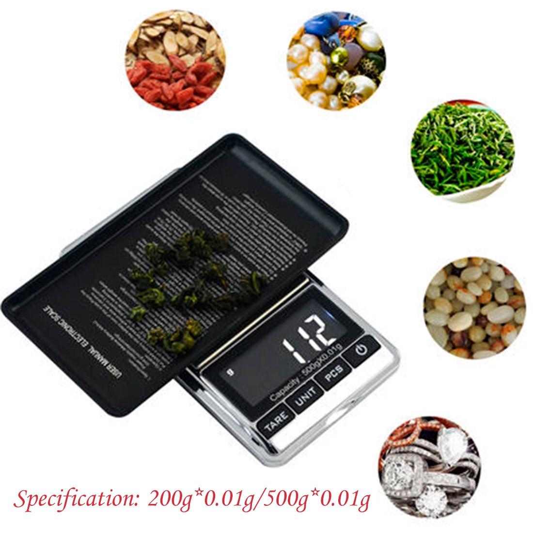 Компактные карманные цифровые весы, электронные карманные весы с ЖК-дисплеем для золота и драгоценностей, 200 г/500 г x 0,01 г