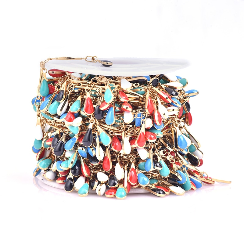 1 meter Stainless Steel Gold Chain Double-sided Enamel High Quality DIY Jewelry Making Necklace Anklets Bracelets Supplies Chain