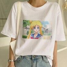 Verão de Moda de Nova Camisa Mulheres Camiseta Manga Curta Harajuku Kawaii Japonês Sailor Moon Ulzzang Feminino Tops Natal