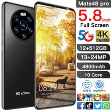 Mate48 Pro Camera 13MP+24MP   Snapdragon 888 12GB 512GB 5.8 Inch 4800mAh Android10.0 Mobile Phone 5G